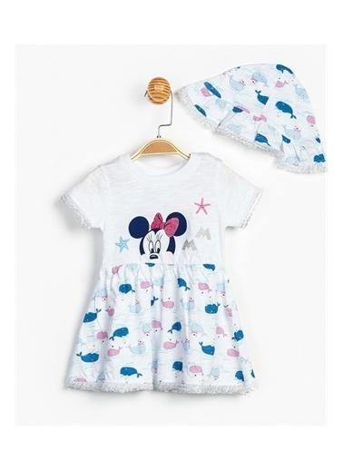 Disney Minnie Mouse Kız Bebek Elbise Ve Şapka Beyaz